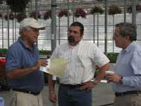 June 2010.  Bill is briefed on developments within the Massachusetts Nursery Industry by Paul Cavicchio of Cavicchio Nursery in Sudbury and Scott Soares, Massachusetts Commissioner of Agricultural Resources.
