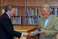 June 2009. Bill congratulates retiring Marion School Committee Member Dr. John Russell during a recent committee meeting.