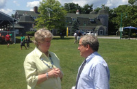 Bill speaks with former UMass Dartmouth Chancellor Jean MacCormack